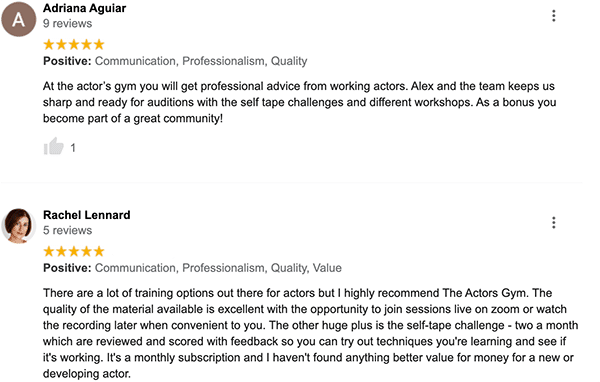 Reviews of The Actors Gym